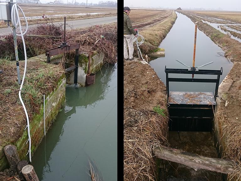 a sinistra: misuratore di portata irrigua installato nel canale in ingresso ad un'unità aziendale - a destra: misuratore di portata irrigua installato nel canale in uscita ad un'unità aziendale